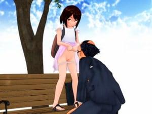 【3Dエロアニメ JSロリ】お金大好き女子小学生がバーコードおじさんと青姦援交。無料JSエロ動画。